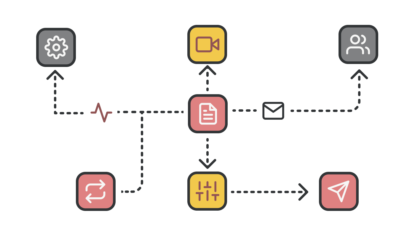 An illustration showing a flowchart of automated processes