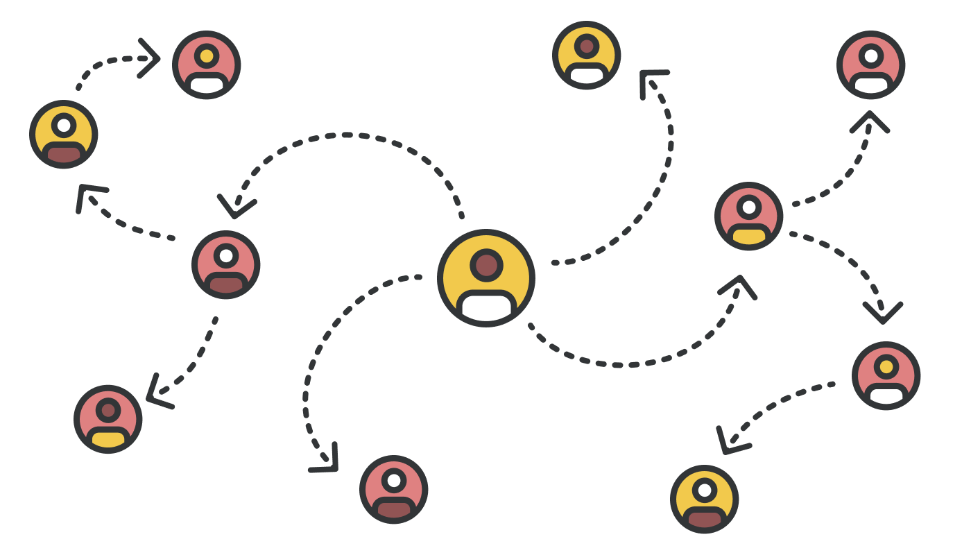 An illustration showing several people connected by lines or relationships